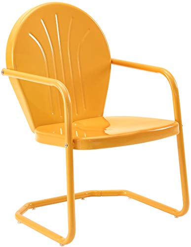 Crosley Furniture CO1001A-TG Griffith Retro Metal Outdoor Chair, Tangerine