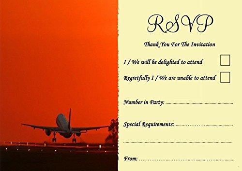 Vliegtuig opstijgen in zonsondergang in het buitenland gepersonaliseerde bruiloft of partij RSVP kaarten 200 RSVP Cards