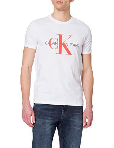 Calvin Klein Jeans Seasonal Monogram Tee 2 T-Shirt, Bianco Luminoso, Neon, XS Uomo