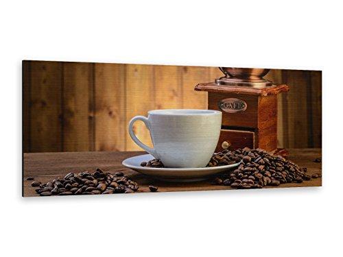 Alu-Dibond afbeelding koffie bonen 125 x 50 cm Butlerfinish® edel geborsteld wandafbeelding, metalen effect blikvanger! ALP12502217.