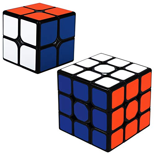 Speed Magic Cube Set ,2 Pack, 2x2 3x3 Speed Bundle Magic Cube Puzzle Stocking Filler for Kids