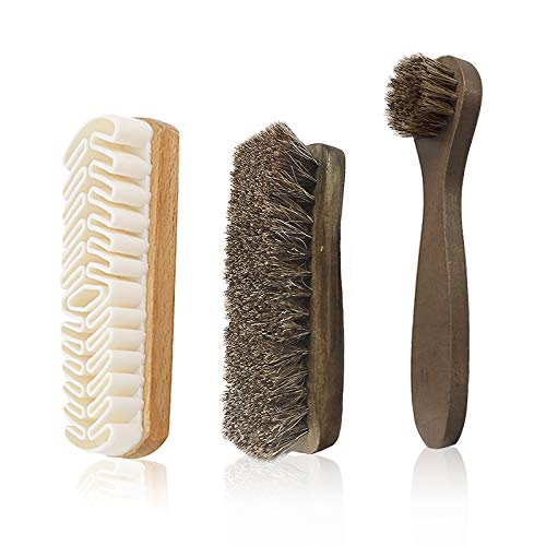 Horsehair Shine Shoes Brush kit, 3-Pack Polish Dauber Applicators Include microfiber buffing Glove