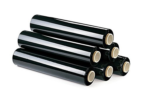 6 Rollos film estirable manual 23my, 1.5 kg. (Negro). (1,2+0,3 kg mandril).