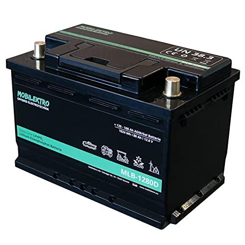 MOBILEKTRO® LiFePO4 80Ah 12V 1024Wh Lithium Versorgungsbatterie mit BMS - EQ 120Ah - 160Ah AGM oder GEL Aufbaubatterie für Wohnmobil, Boot, Camping oder Solaranlage, L3 DIN-Größe