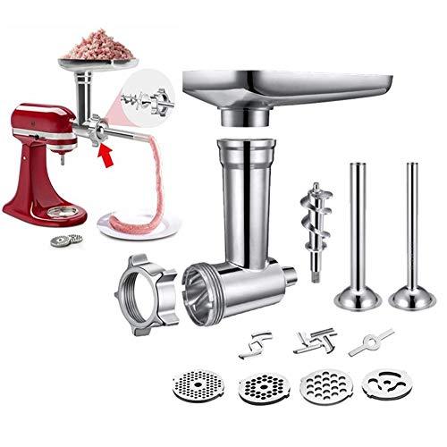 Adatto per accessori per tritatutto in metallo da banco KitchenAid, inclusi 2 tubi di riempimento per salsicce, accessori per tritacarne durevoli per robot da cucina