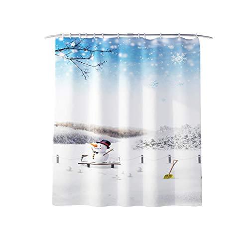 Kolylong® 4 STÜCKE Weihnachten Bad Sets Schneemann Weihnachtsmann Duschvorhang/Badematten Teppiche/U-förmigen Podest Matte/Toilettensitzbezug