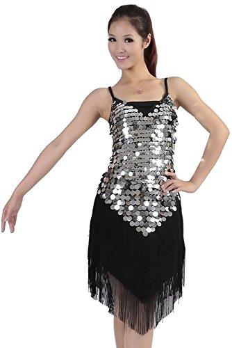 XFentech Femmes Licol Sangle réglable Glands Paillettes Robe de Danse Latine Robe (Noir Argent)