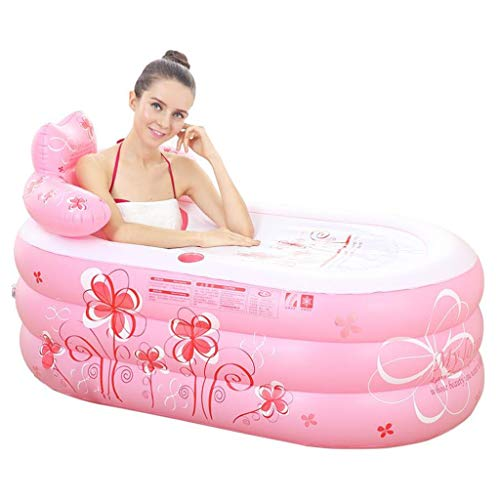 M-YN Bañera Inflable Plegable Inflable portátil Bañera de hidromasaje Sauna Plegable Caliente Piscina Inflable Independiente Baño Casa SPA for Adultos SPA (Color : Pink)