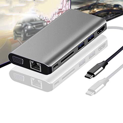 HYJA-Z USB C Hub Type-c Docking Station 8-in-1 C to Hdmi/vga/usb3.0/gigabit Network Card Docking Station for MacBook Air Adapter