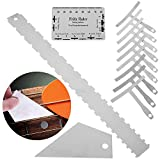 Notched Straight Edge Guitar Luthiers Tool, Set of 3 with 9pcs Understring Radius Gauge Guitar Repair Tools