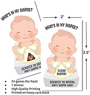 What's In My Diaper Baby Shower Scratch Off Game | 24 Cards - 1 Winner | Baby Shower Games | Baby Shower Prizes | Door Prizes | Baby Shower Decorations Neutral | Diaper Party | Dirty Diaper Game