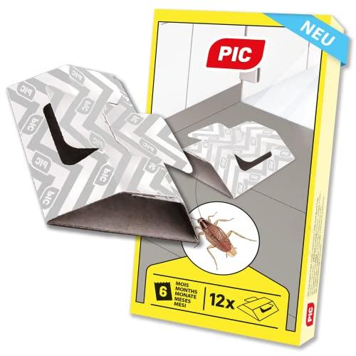PIC Schabenfalle und Kakerlaken-Falle, 12 Stück, geeignet zum Beködern (z.B. Traubenzucker, Brot, Wurst, ect.), geruchslos und ungiftig