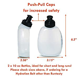 2x 10 oz BPA Free Water Bottles for the Runtasty Running Hydration Belt w/Touch Screen Cover! Full compatibility with most Running Fuel Belts and Fanny Packs on the Market!