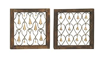 Deco 79 2 Assorted Tinkling Wood Metal Bell Decor 16  W x 16  H