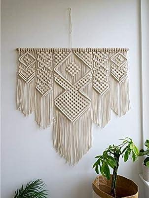 ✔ Esta cortina de macramé también se puede colgar en la decoración de la pared, es un hermoso tratamiento de ventana bohemio que es más acogedor en el hogar. Perfecto como decoración de banner para un tapiz de boda, cumpleaños o cualquier otra celebr...