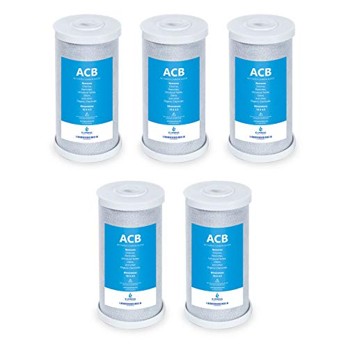 """Express Water – 5 Pack Water Filter Activated Carbon Block Replacement Filter – ACB Large Capacity Water Filter – Whole House Filtration – 5 Micron Water Filter – 4.5"""" x 10"""" inch"""