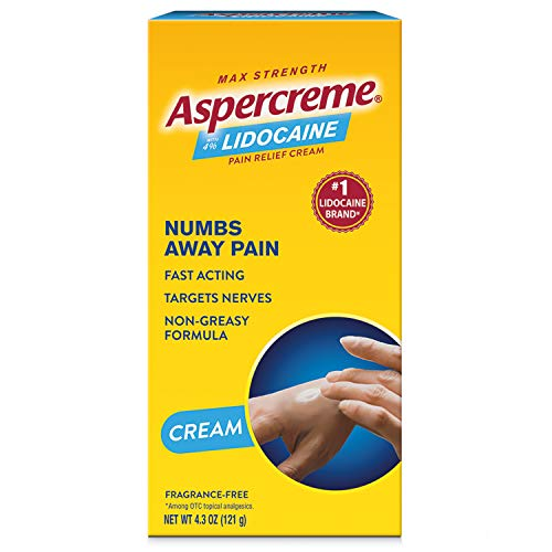Aspercreme Maximum Strength Relief Cream oz., Aspercreme Pain Relieving Creme With Lidocaine, 4.7 Ounce, No Flavor, ODOR FREE, 4.7 Ounce