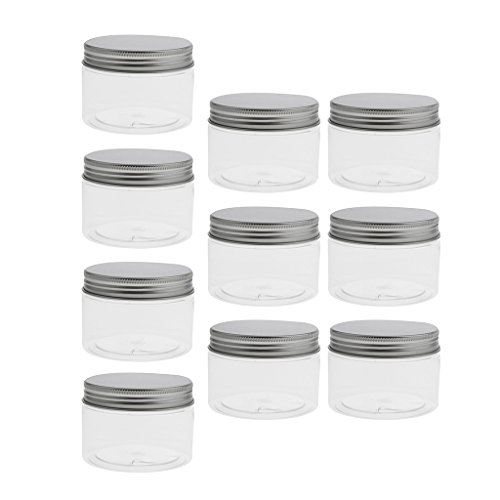 Perfeclan 10 Pcs Pot Cosmétique Vides Flacon Maquillage en Plastique Transparent Portable Crème Bouteilles Voyage pour Visage/Lotion/Crème/Poudres - 120ml