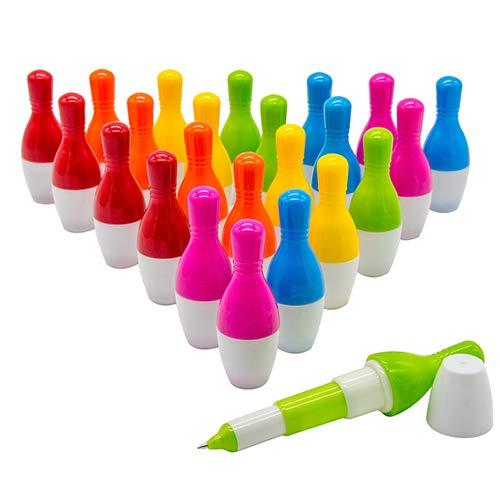 WOCLHJ Bowling-Kugelschreiber, niedlicher Mini-Teleskop-Kugelschreiber, einziehbarer Stift, kreatives Geschenk für Studenten, Kinder, 0,5 mm, blaue Tinte, 24 Stück