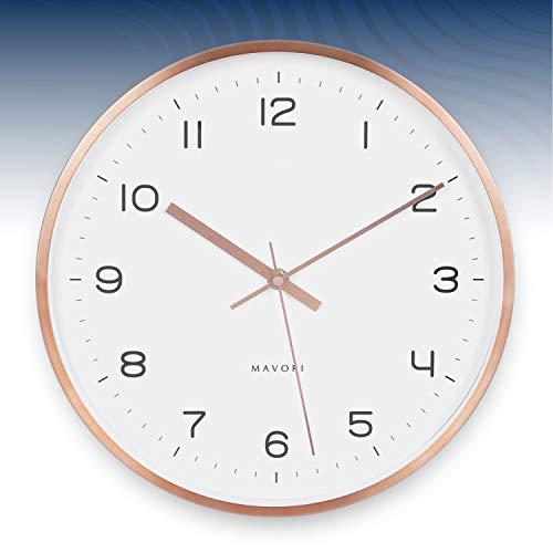 MAVORI® Wanduhr ohne Tickggeräusche mit lautlos schleichenden Sekundenzeiger und extrem leisen Quartz Laufwerk - sehr stilvoll und modern mit hochwertigen Metallrahmen in Rosegold