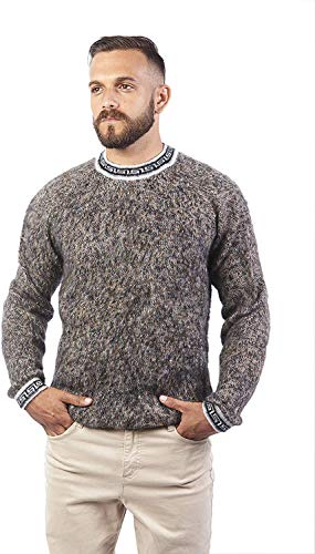Raymis Alpaca Wool Hand Knitted Mexican Men´s Round Neck Sweater (Beaver, Small)