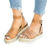 Quealent Espadrilles Sandals for Women Platform,Flatform Espadrille Knot Bow Wedge Ankle Strap Open Toe Sandals