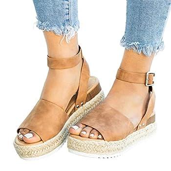 Vovotrade Women s Flatform Open Toe Sandal Women s Wedge Sandals Platform Sandals Cork Elastic Strap Sandals Brown