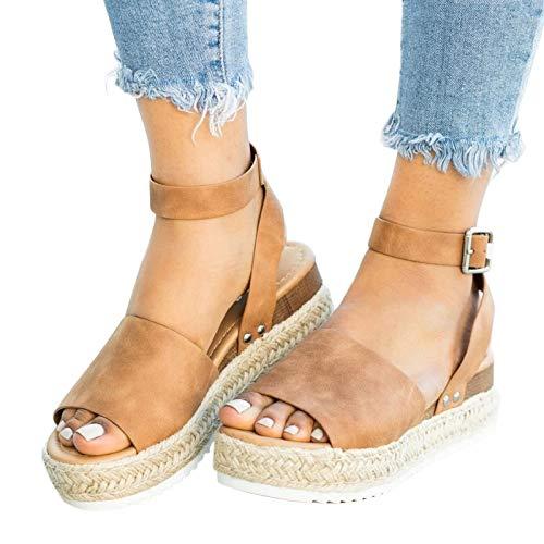 Xudanell Womens Sandalias bajas cuñas alpargatas tobillo correa rodilla alto peep toe sandalias para mujer Verano sandalias para mujer, 7.5, Marrón