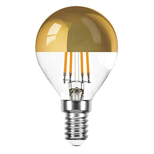 LED Filament Tropfen 4 Watt = 40 Watt E14 Kopfspiegel Gold KVG P45 Glühfaden warmweiß 2700K Retrofit (gold, 1 x 4W ~ 40W)