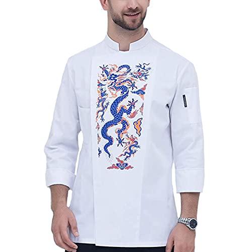 GAOSHENGWUJINGD Chef Coat Men Women Long Sleeve Restaurant Chef Kitchen Work Uniforms Breathable Sushi Bakery Cafe Waiter Catering Service Jackets (Color : White, Size : C(XL))