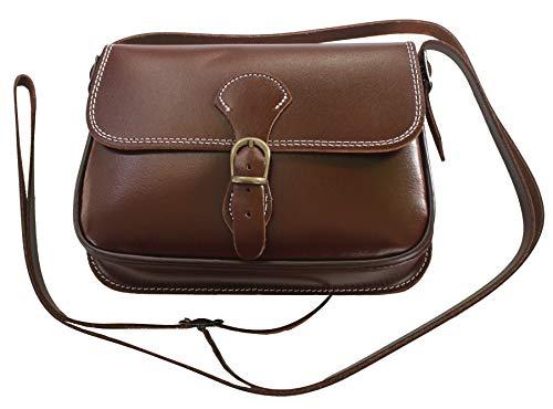 Funrey Bolso rociero de piel marrón de Ubrique Medidas: 20x11,5x5cms. convertible en riñonera.