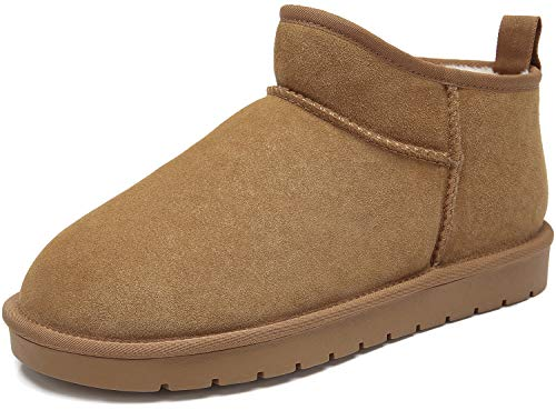 CAMEL CROWN Men's Fur Snow Boots Suede Leather Casual Winter Slip on Boots Unisex House Slippers Women's Bootie Camel Size 12