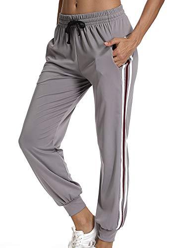 STARBILD Pantalones para Mujer Holgado de Moda Cintura Elástico Cordón Entrenamiento Fitness Jogger con Bolsillos Coincidencia de Colores Casuales Pantalones Deportivos Gris M