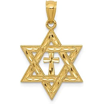 New 14k Yellow Gold Star of David with Cross Pendant
