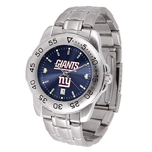 Game Time NFL New York Giants Mens Sport SteelWrist Watch, Team Color, One Size (Renewed)