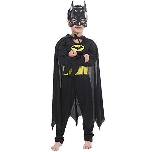 Batman Muskel Kostüm Mit Mask Overall Faschingskostüm Junge Halloween Kinder-Verleidung,110cm