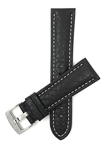 Price comparison product image Bandini Extra Long (XL) 22mm Mens Italian Leather Watch Band Strap - Black - Buffalo Pattern - White Stitch - Classic