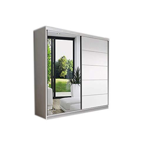MOEBLO Kleiderschrank Schwebetürenschrank mit Spiegel 2-türig Schrank mit Einlegeböden und Kleiderstange Gaderobe Schiebtüren BxHxT 150x200x61 Lara 05 (Weiß)