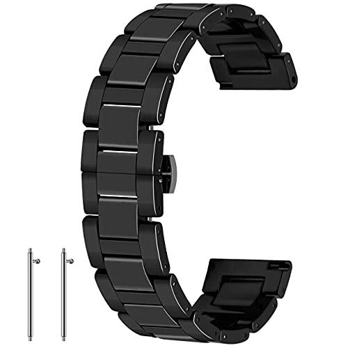 Kai Tian Correas de reloj de cerámica negra de 20mm Banda de reloj de liberación rápida Cierre de mariposa Reloj pulsera para mujer Muñequera
