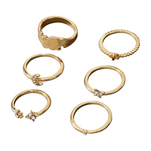 certainPL 6Pcs Knuckle Stackable Rings Set for Women, Bohemian Butterfly Plated Comfort Fit Vintage Moon Joint Finger Rings Gift (AS Show)