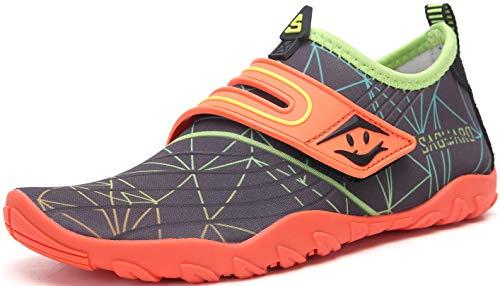 SAGUARO Zapatos de Agua para Niños Niñas Escarpines de Playa Secado Rápido Antideslizante Zapatos de Natacion Respirable para Deportes Acuáticos Piscina Yoga, Velcro Naranja, 31 EU