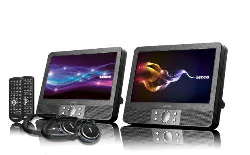 Lenco Tragbarer DVD-Player DVP-938 Doppel DVD-Player Set - 2 x 9 Zoll Bildschirm minimal 3,5 Stunden Akkulaufzeit - 2 Kopfhörer - 2 Fernbedienungen - 2 Befestigungen - Schwarz