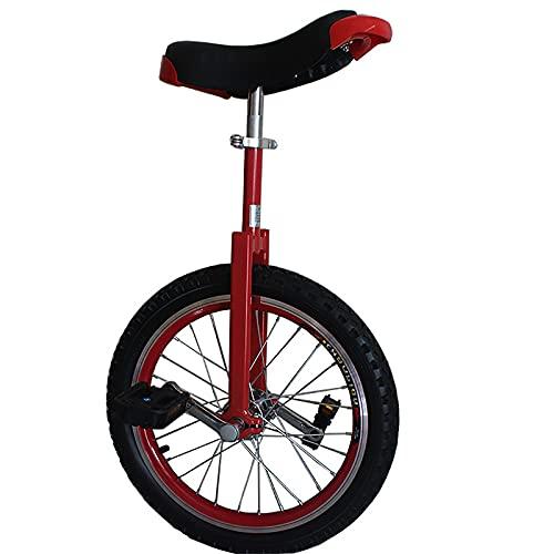 Monociclo Monociclo para Niños de 16 Pulgadas, Niños Niñas Principiantes Monociclos de 4/5/6/7 Años, Altura 115-155cm, Monociclo de Rueda Pequeña Al Aire Libre con Sillín Ajustable (Color : Red)