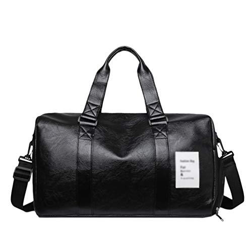 Yiqi Foldable Travel Duffel Bag Luggage Sports Gym Water Resistant PU, Shoulder Bag Messenger Bag Hand Cabin Luggage Carry-On Travel Bag Medium Holiday Duffle Lightweight Bag (Black, 40 * 24 * 24cm)