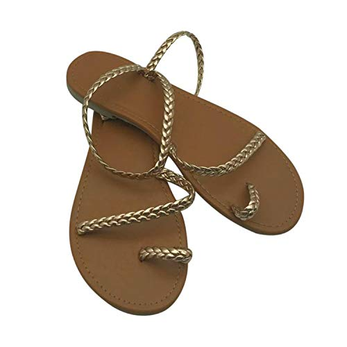 Size Thong Sandals Summer Women Flip Flops Weaving Casual Beach Flat with Shoes Rome Female Low Heels,Gold,9