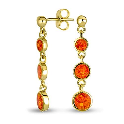 Disco Redondo Naranja Fuego Mexicano Creado Opal Largo Conjunto Bisel Colgante Pendiente Mujer Chapado En Oro 14K 925