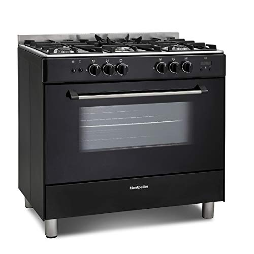 Montpellier MR91GOK 90cm Single Cavity Gas Range Cooker - Black