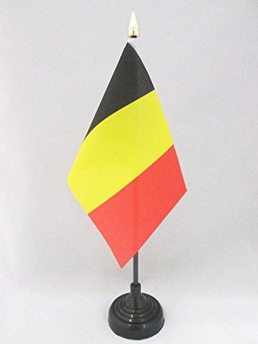 AZ FLAG TISCHFLAGGE Belgien 15x10cm goldene splitze - BELGISCHE TISCHFAHNE 10 x 15 cm - flaggen