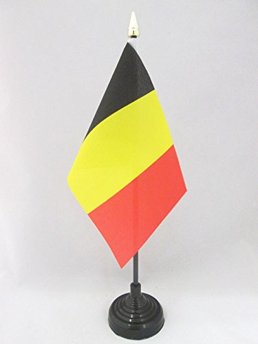 AZ FLAG Bandera de Mesa de BÉLGICA 15x10cm - BANDERINA de DESPACHO Belga 10 x 15 cm Punta Dorada