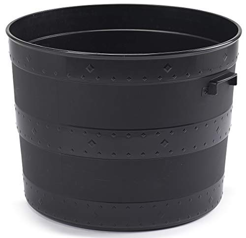 Whitefurzee Blacksmith Tub Planter Black Plastic Plant Pot Barrel Planter 24 Litre or 102 Litre - (24 Litre)
